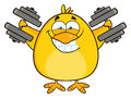 Smiling Yellow Chick Cartoon Character Training With Dumbbells Royalty Free Stock Photo