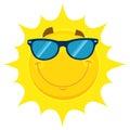 Smiling Yellow Sun Cartoon Emo...