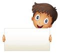 A smiling young boy holding an empty signage illustration of on white background Stock Photography