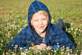 Smiling young boy lying in grass smiling a cute happy with missing front teeth with clover Stock Photos