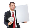 Smiling young business man holding a placard isolated on white background Royalty Free Stock Photo