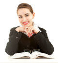 Smiling young business woman with book Stock Images