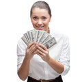 Smiling young business woman holding money caucasian in white blouse isolated on white Royalty Free Stock Photo
