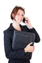 Smiling young business woman with smart phone Stock Images