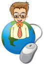 A smiling young businessman above the globe with a computer mous illustration of mouse on white background Royalty Free Stock Photo