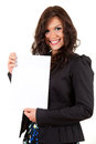 Smiling young businesswoman with blank pape Royalty Free Stock Photography