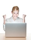 Smiling young businesswoman with laptop Stock Photography