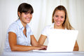 Smiling young businesswomen using laptop together Stock Photography