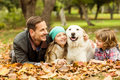 Smiling young family with dog Royalty Free Stock Photo