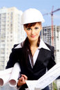 Smiling young female architect Royalty Free Stock Photos