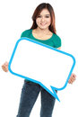 Smiling young girl holding blank text bubble in specs portrait of over white background Royalty Free Stock Photo