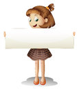 A smiling young girl holding an empty cardboard illustration of on white background Royalty Free Stock Image
