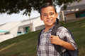 Smiling Young Hispanic Boy Ready for School Royalty Free Stock Photo