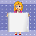 A smiling young lady holding an empty rectangular template illustration of Royalty Free Stock Image