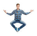 Smiling young man flying in air happiness freedom movement and people concept Royalty Free Stock Image