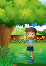 A smiling young man near the tree inside the gated yard illustration of Royalty Free Stock Photos