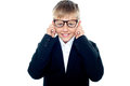 Smiling young nerd boy Royalty Free Stock Images