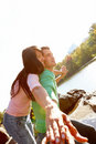 Smiling young romantic couple having fun Royalty Free Stock Image