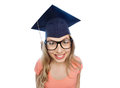 Smiling young student woman in mortarboard Royalty Free Stock Photo