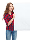 Smiling young teenage girl with white blank board happiness advertising and people concept Royalty Free Stock Photos