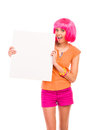 Smiling young woman with blank white card. Stock Photo