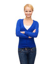 Smiling young woman in casual clothes hapiness and people concept Stock Photography