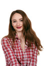 Smiling young woman in checkered shirt isolated on white backgro pretty red background Stock Image