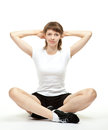 Smiling young woman doing sport exercises Stock Images