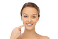 Smiling young woman face and shoulders beauty people health concept Royalty Free Stock Photo