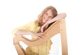 Smiling young woman and harp leaning on Royalty Free Stock Images