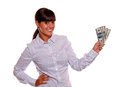 Smiling young woman holding cash money Stock Photography