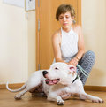 Smiling young woman taking dog for a walk white focus on Royalty Free Stock Photos