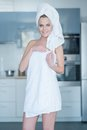 Smiling Young Woman Wearing Bath Towel Royalty Free Stock Photo