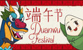 Smiling Zongzi and Dragon Saluting in Duanwu Festival Celebration, Vector Illustration