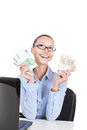 Smilling businesswoman with euros in hands on workplace Royalty Free Stock Image