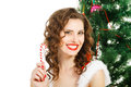 smilling christmas girl isolated on white background Royalty Free Stock Photo
