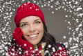 Smilng woman wearing winter hat and gloves with snow effect happy mixed race on gray flakes background Stock Photography