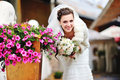 Smily bride next to flowers beautiful smiling Stock Images