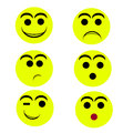 Smily faces happy sad fear kissy surprised Royalty Free Stock Photography