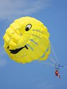 Smily parasail photo of a parasailing chute dragged by boat Royalty Free Stock Photos