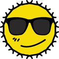 Smirking face of wearing dark sunglasses yellow sun