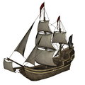 Smirking mermaid a pirate ship d render beautiful detailed isolated in white background Stock Photography