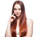 Smirking red haired girl attractive young casual caucasian isolated on white Stock Photo