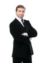 Smirking successful businessman isolated over a white backgroun background Stock Photography
