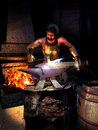 Smith forging a sword in his workroom with his tools near the fire on the anvil Royalty Free Stock Photography