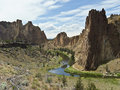 Smith rock state park in oregon the crooked river central Stock Images