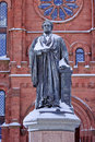 Smithson Statue Snow Smithsonian Washington DC Royalty Free Stock Photos