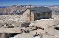Smithsonian hut on summit of mount whitney sierra nevada mountain range california Royalty Free Stock Images