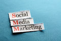 Smm abbreviation social media marketing on blue paper Royalty Free Stock Images