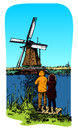 Smock mill a traditional windmill in holland kinderdijk vector color illustration Stock Photo
